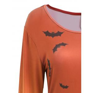 Long Sleeve Bat Print Swing Halloween Dress - JACINTH 2XL