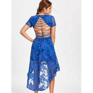 Back Tie Up High Low Lace Dress - BLUE XL