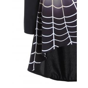 Spider Web Bell Sleeve Halloween T-shirt Dress -