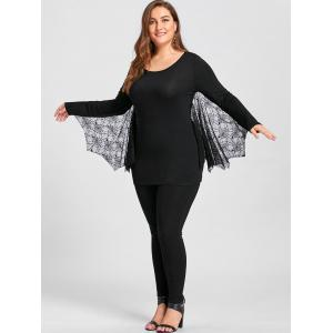Plus Size Halloween Tulle Panel Bat Top -