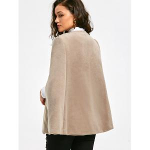Batwing Sleeve Faux Suede Cape Coat - APRICOT 2XL