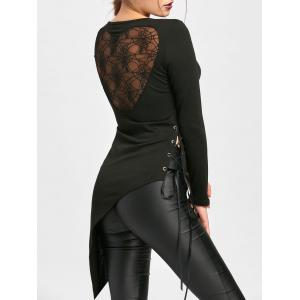 Halloween Sheer Asymmetrical Lace Up Top -
