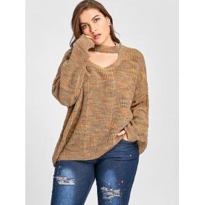 Plus Size Drop Shoulder Ripped Cut Out Neck Sweater -