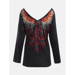 Tribal Feathers Print Long Sleeve T-shirt -