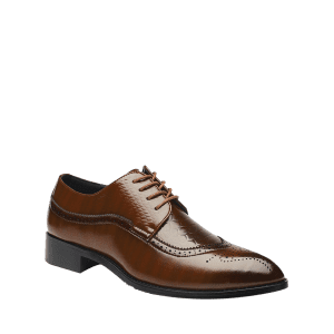 Embossing Lace Up Formal Shoes -