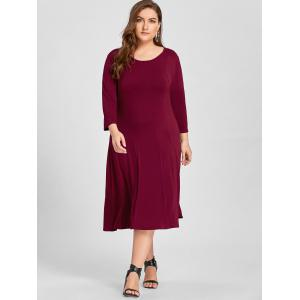 Plus Size A Line Midi T Shirt Dress -