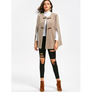 Batwing Sleeve Faux Suede Cape Coat -