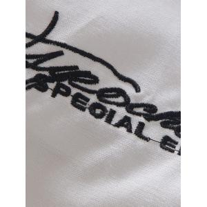 Roll Tab Sleeve Hat Moustache Embroidery Shirt -