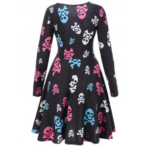 Skull Print A Line Halloween Dress -