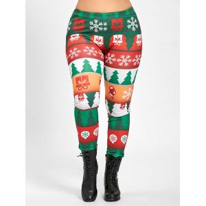 Plus Size Tight  Christmas Tree Printed Pants -