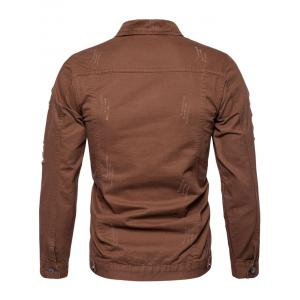 Button Up Distressed Cargo Jacket -