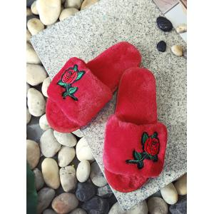 Open Toe Faux Fur Embroidery Flower Slippers -
