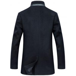 Mock Pocket Mandarin Collar Wool Blend Coat -