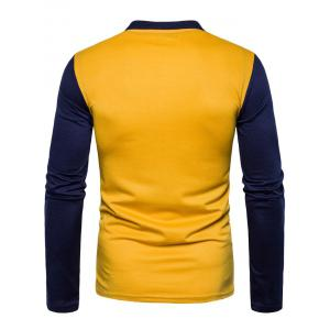 Color Block Long Sleeve Polo T-shirt -