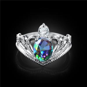 Sparkly Faux Gem Crystal Oval Ring -
