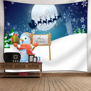 Christmas Sled Snowman Moon Wall Tapestry -