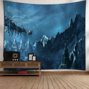 Snow Mountain Christmas Sled Wall Tapestry -