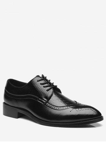 Sale Embossing Lace Up Formal Shoes - 40 BLACK Mobile