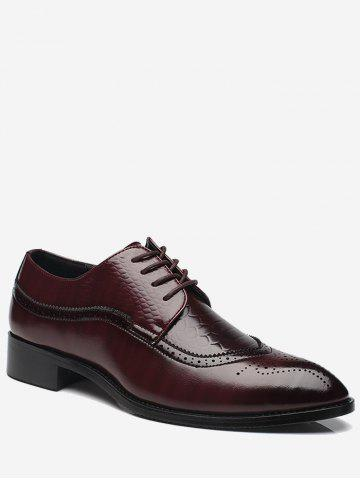 Hot Embossing Lace Up Formal Shoes - 43 BROWN Mobile