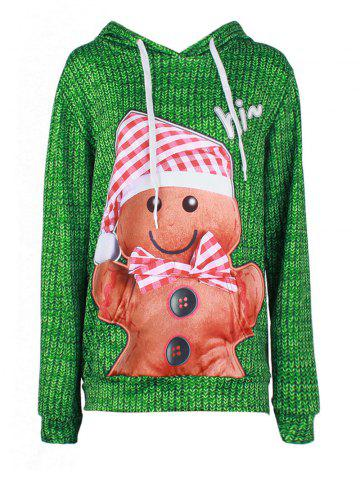 Cheap Hi Christmas Baked Doll Kangaroo Pocket Hoodie - XL GREEN Mobile