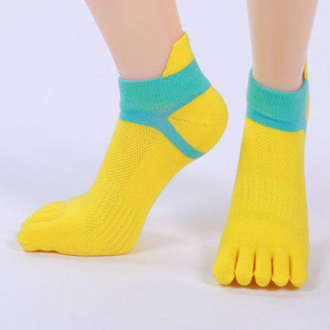 Outfit Five Toe Fingers Cotton Blend Ankle Socks - YELLOW  Mobile