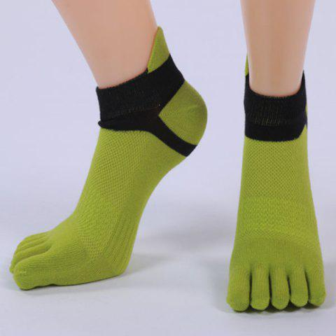 Trendy Five Toe Fingers Cotton Blend Ankle Socks GREEN