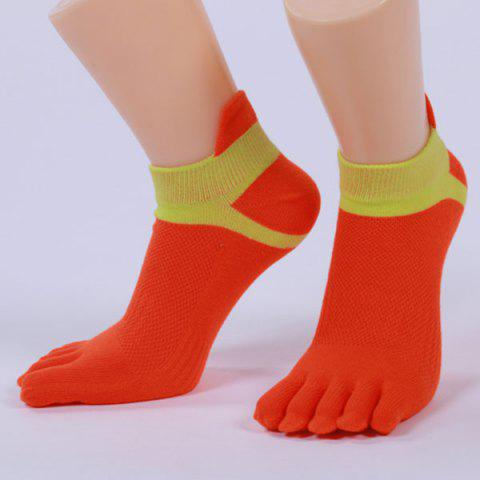 Hot Five Toe Fingers Cotton Blend Ankle Socks RED