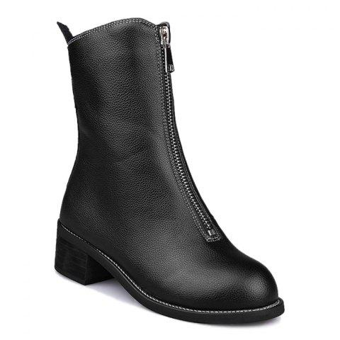 Unique Faux Leather Zip Short Boots BLACK 35