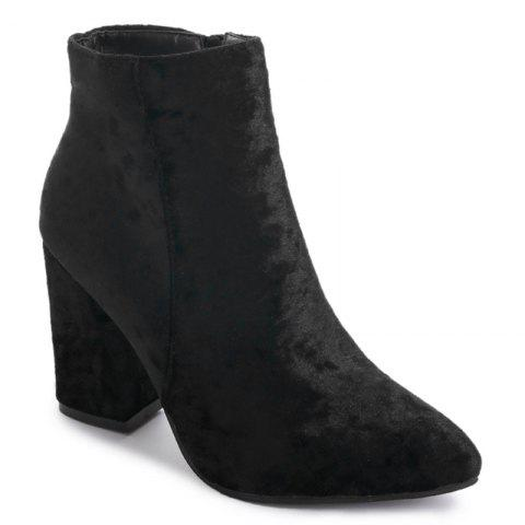 Trendy Ankle Pointed Toe Chunky Boots - 35 BLACK Mobile