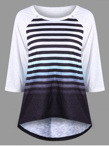 Outfits Striped Ombre Raglan Sleeve Top - XL BLACK WHITE Mobile