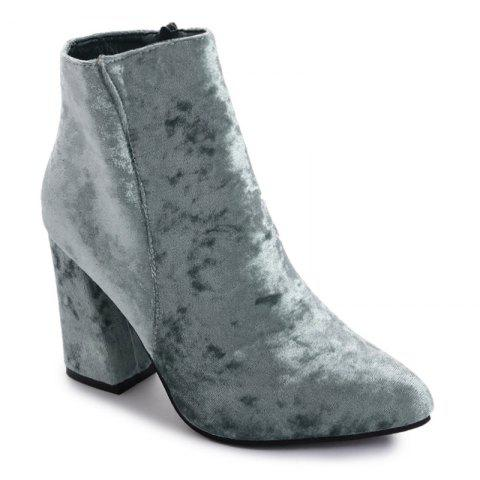 Fancy Ankle Pointed Toe Chunky Boots - 35 GRAY Mobile