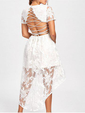 Fancy Back Tie Up High Low Lace Dress - L WHITE Mobile