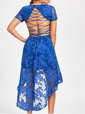 Outfits Back Tie Up High Low Lace Dress BLUE L