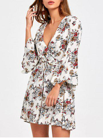 Surplice Flare Sleeve Floral Printed Dress Multicolore M