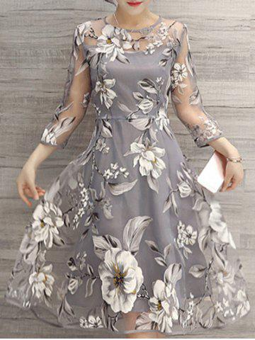 Shop Flower Print Midi Organza Dress - 2XL LIGHT GRAY Mobile