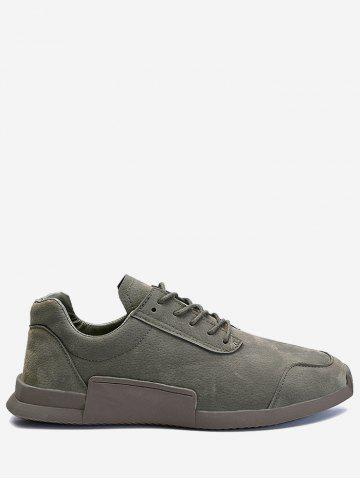 Buy Round Toe Lace Up Sneakers - 39 GRAY Mobile