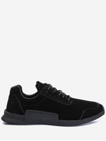 Affordable Round Toe Lace Up Sneakers BLACK 44
