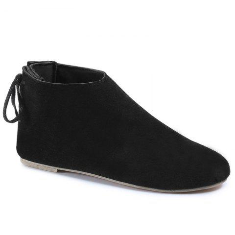 Unique Flat Pointed Toe Ankle Boots - 39 BLACK Mobile