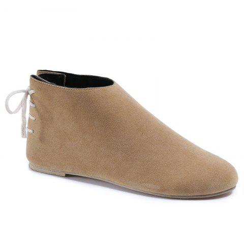 Trendy Flat Pointed Toe Ankle Boots - 38 APRICOT Mobile