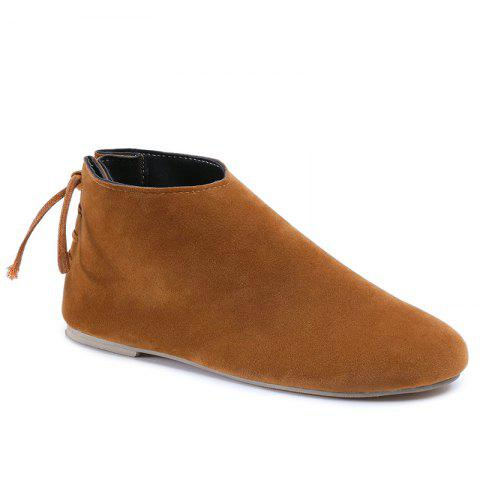 Fancy Flat Pointed Toe Ankle Boots BROWN 38