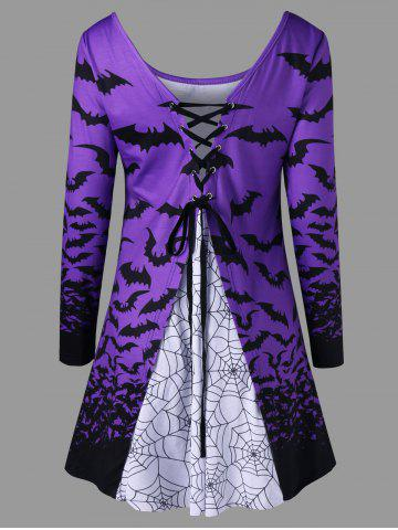 Hot Halloween Bat Lace Up Top LIGHT PURPLE L