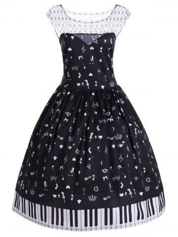 Best Mesh Insert Piano Plus Size Vintage Dress - XL BLACK Mobile