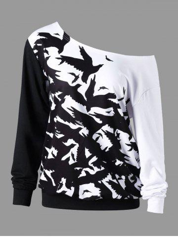 Sweat à col roulé monochrome pour Halloween Plus Size Blanc-Noir 3XL