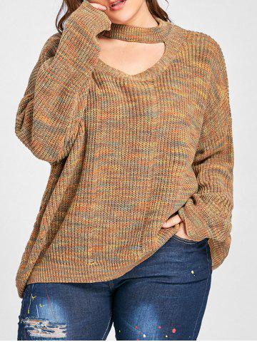 Fancy Plus Size Drop Shoulder Ripped Cut Out Neck Sweater LIGHT COFFEE 3XL