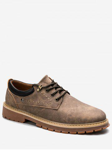 Fancy Lace Up Stitching Low Top Casual Shoes - 40 BROWN Mobile