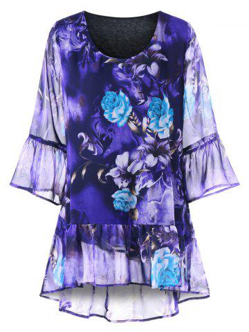 Shop Plus Size Flounced Floral Blouse - XL BLUE VIOLET Mobile