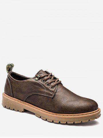 Fancy Lace Up Faux Leather Low Top Casual Shoes - 43 BROWN Mobile