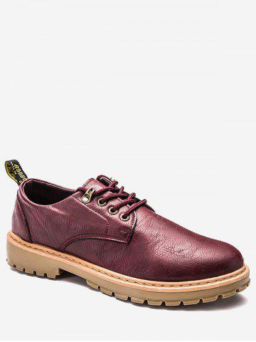 Unique Lace Up Faux Leather Low Top Casual Shoes WINE RED 44