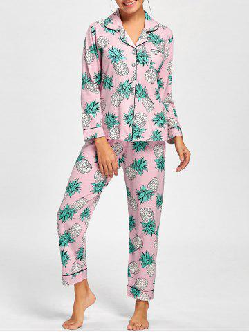 Affordable Pineapple Shirt Pajama Set PINK L