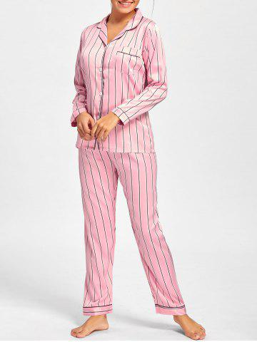 Trendy Striped Satin Shirt Pajama Set - M PINK Mobile